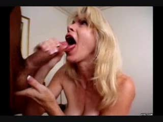 older with a big mouth sucks and swallows