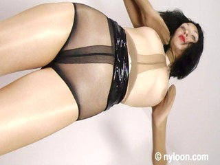 Gia in nylon encasement - pantyhose inside pussy