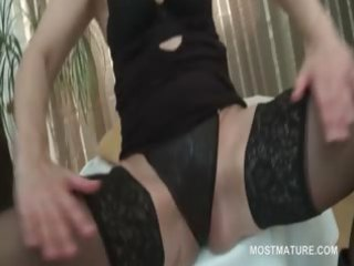 older stunner in underware shows hawt pussy and
