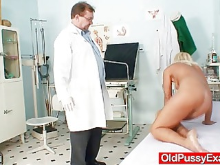 slim blonde cougar kinky pussy checkup