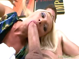 naughty blonde`s arsehole swallows this shlong in