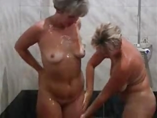 sexy aged lady with a young boy