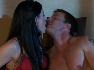 black haired mother i in red hot underware does