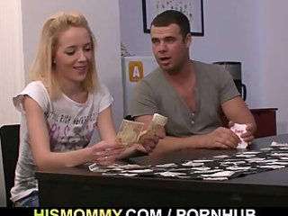 undress poker with his gf and mama leads to