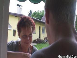 smart boy bangs the granny next door